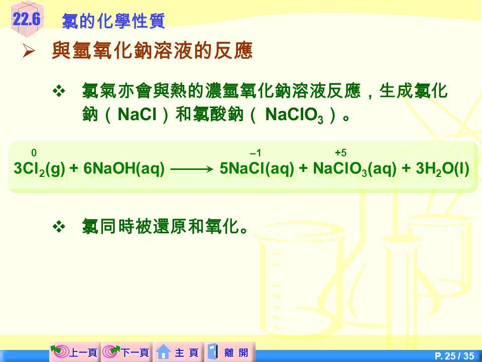 3Cl2(g) + 6NaOH(aq) 5NaCl(aq) + NaClO3(aq) + 3H2O(l)