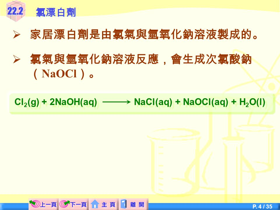 Cl2(g) + 2NaOH(aq) NaCl(aq) + NaOCl(aq) + H2O(l)