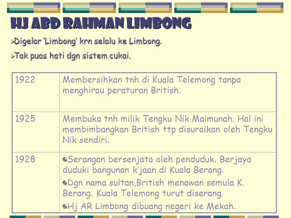 Hj abd rahman limbong Digelar 'Limbong' krn selalu ke Limbong. Tak puas hati dgn sistem cukai. 1922.