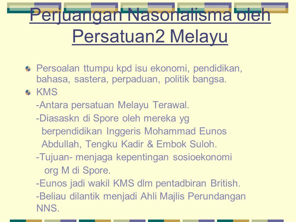 Perjuangan Nasonalisma oleh Persatuan2 Melayu