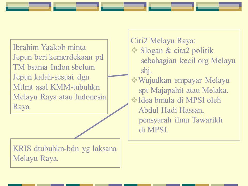 Ciri2 Melayu Raya: Slogan & cita2 politik. sebahagian kecil org Melayu. shj. Wujudkan empayar Melayu.