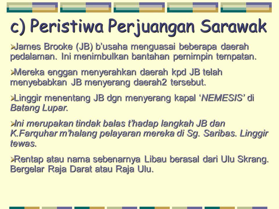 c) Peristiwa Perjuangan Sarawak