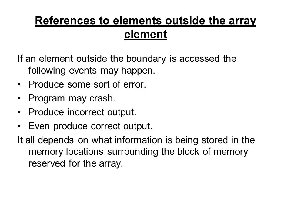 References to elements outside the array element
