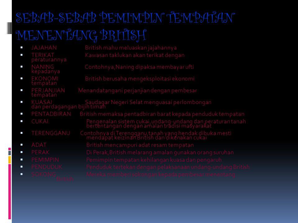 SEBAB-SEBAB PEMIMPIN TEMPATAN MENENTANG BRITISH
