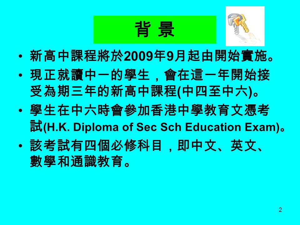 背 景 新高中課程將於2009年9月起由開始實施。 現正就讀中一的學生,會在這一年開始接受為期三年的新高中課程(中四至中六)。