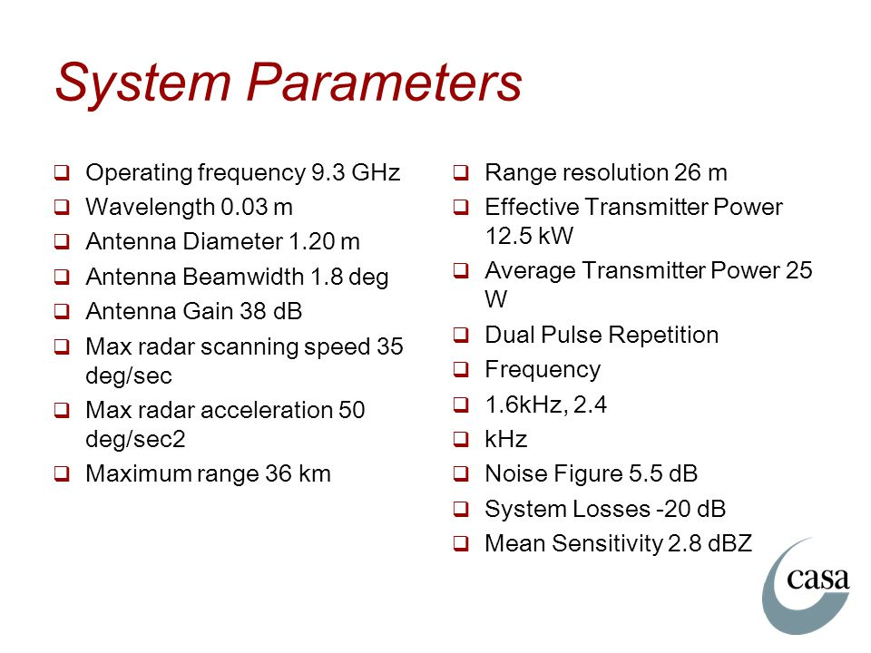 System Parameters Operating frequency 9.3 GHz Wavelength 0.03 m