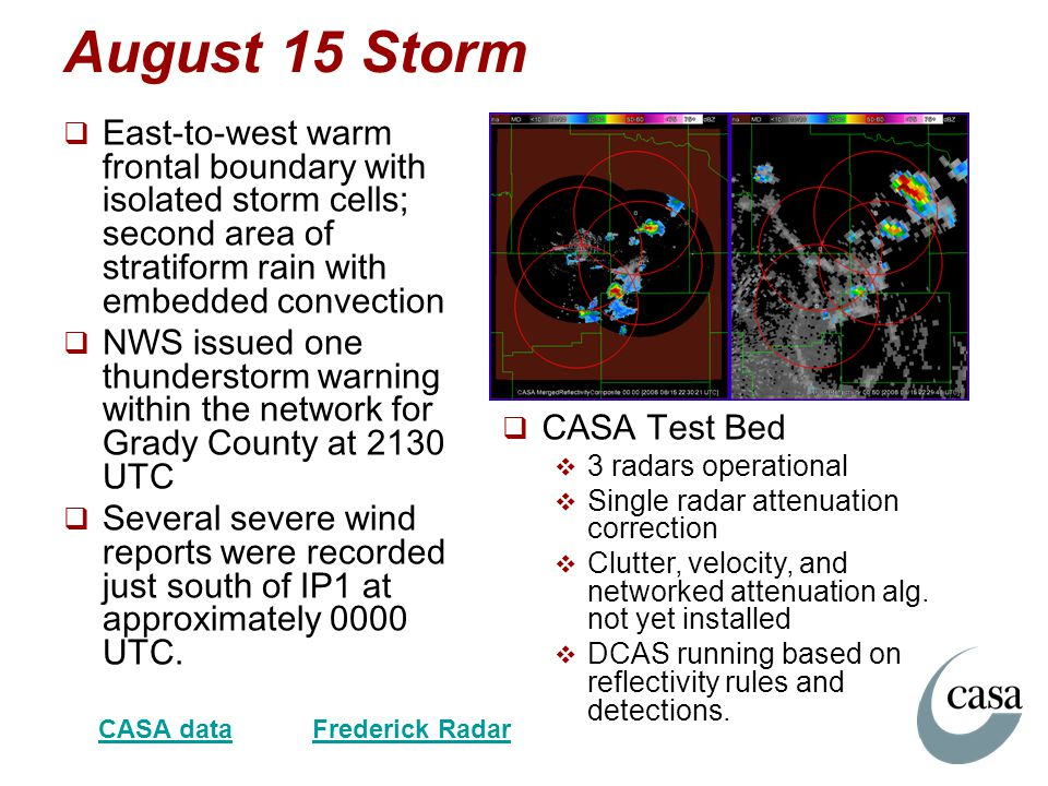 August 15 Storm East-to-west warm frontal boundary with isolated storm cells; second area of stratiform rain with embedded convection.