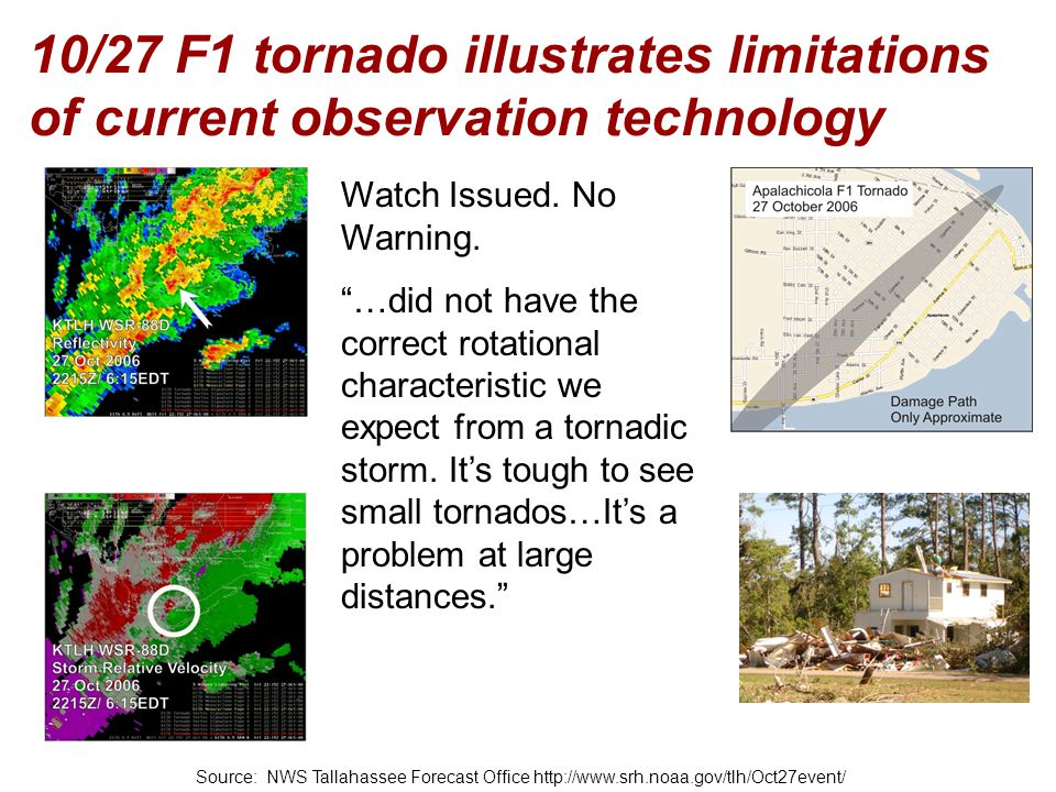 10/27 F1 tornado illustrates limitations of current observation technology
