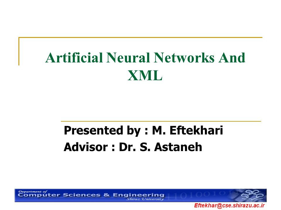 Artificial Neural Networks And XML