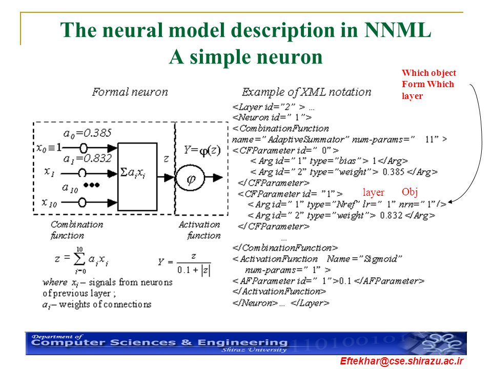 The neural model description in NNML A simple neuron