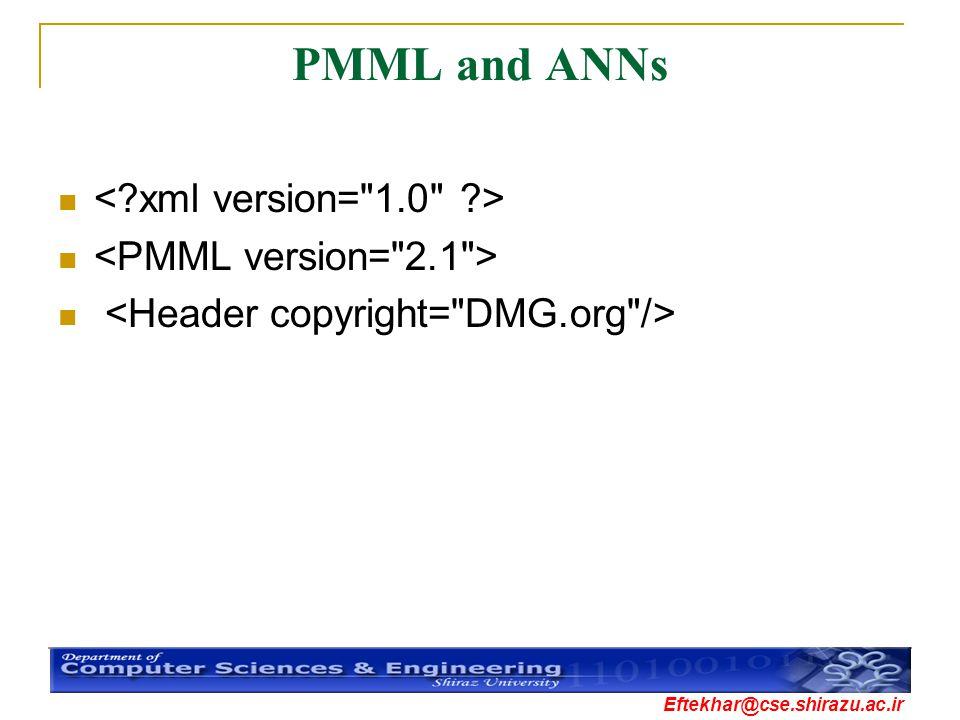 PMML and ANNs < xml version= 1.0 > <PMML version= 2.1 >