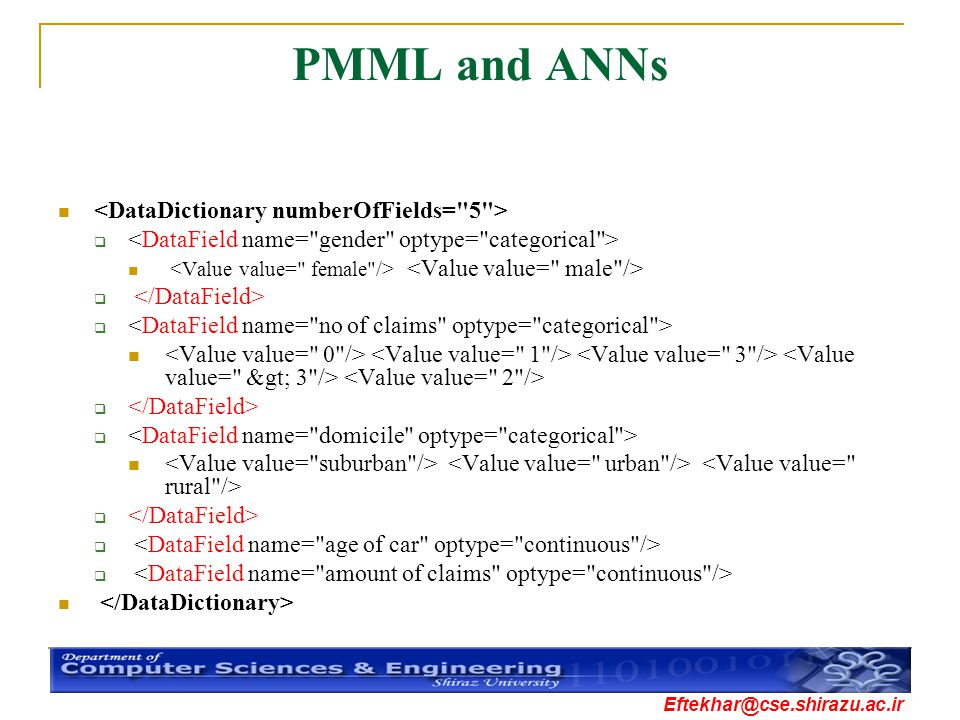 PMML and ANNs <DataDictionary numberOfFields= 5 >