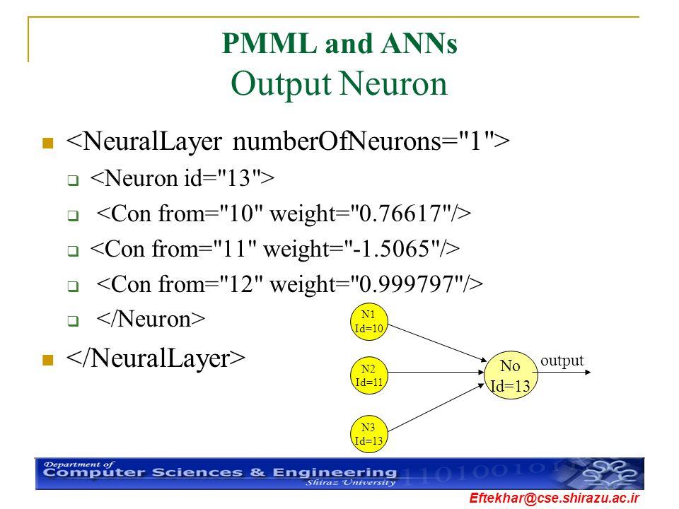 PMML and ANNs Output Neuron
