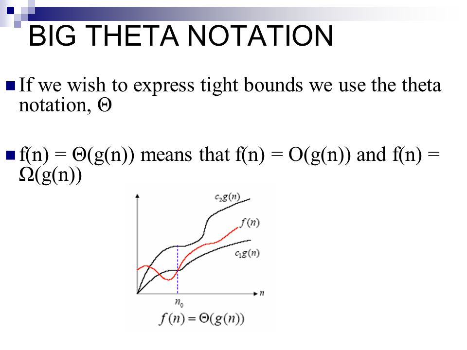 BIG THETA NOTATION If we wish to express tight bounds we use the theta notation, Θ. f(n) = Θ(g(n)) means that f(n) = O(g(n)) and f(n) = Ω(g(n))