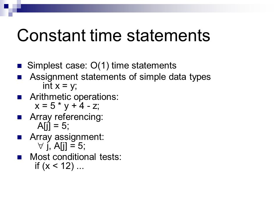 Constant time statements