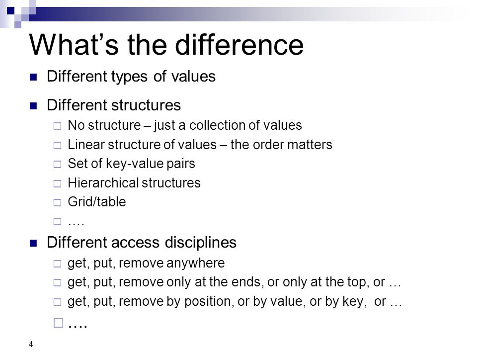 What's the difference Different types of values Different structures