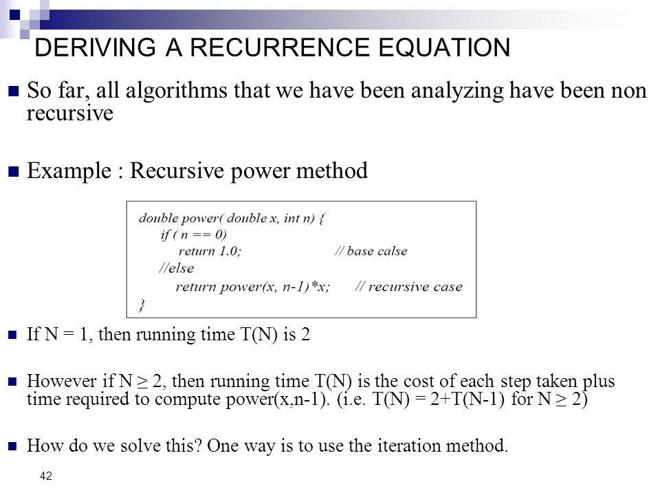 DERIVING A RECURRENCE EQUATION