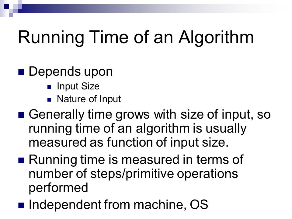 Running Time of an Algorithm