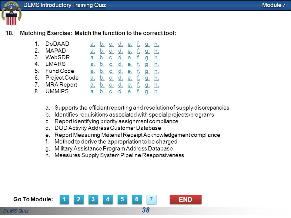 Module 7 Matching Exercise: Match the function to the correct tool: DoDAAD. MAPAD. WebSDR. LMARS.