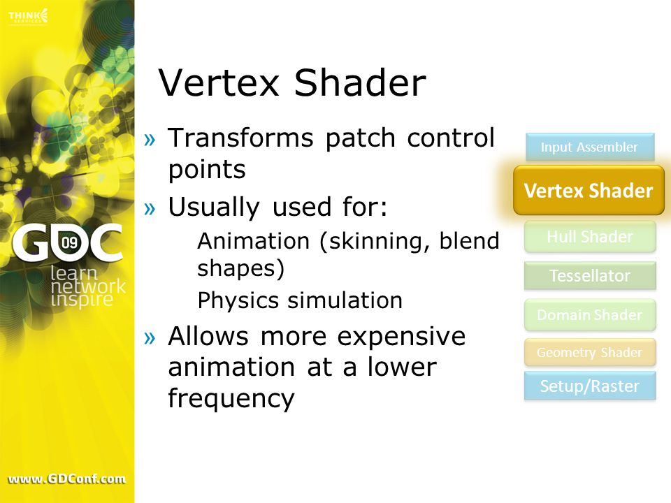 Vertex Shader Transforms patch control points Usually used for: