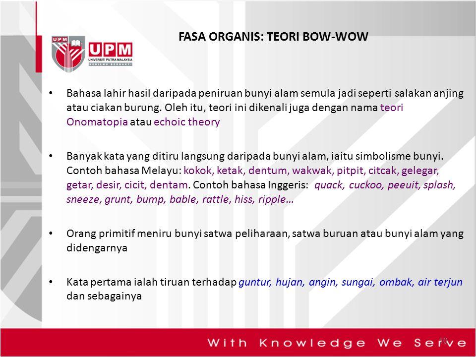 FASA ORGANIS: TEORI BOW-WOW
