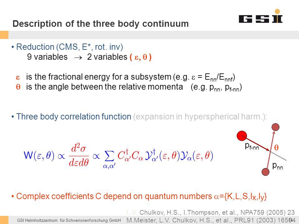 Description of the three body continuum
