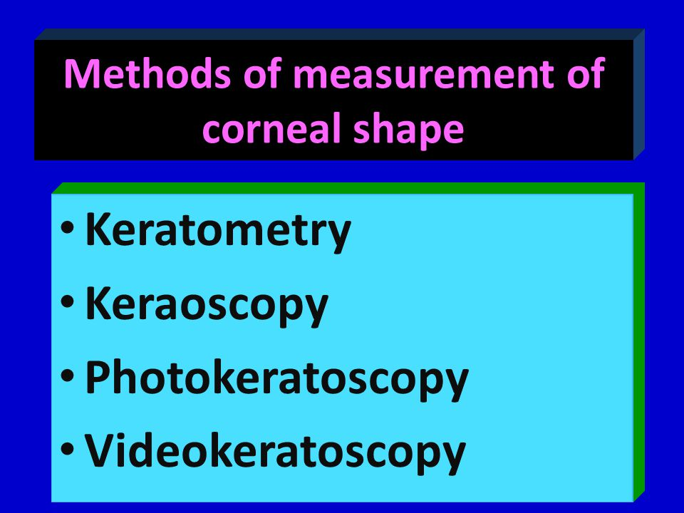 Methods of measurement of corneal shape