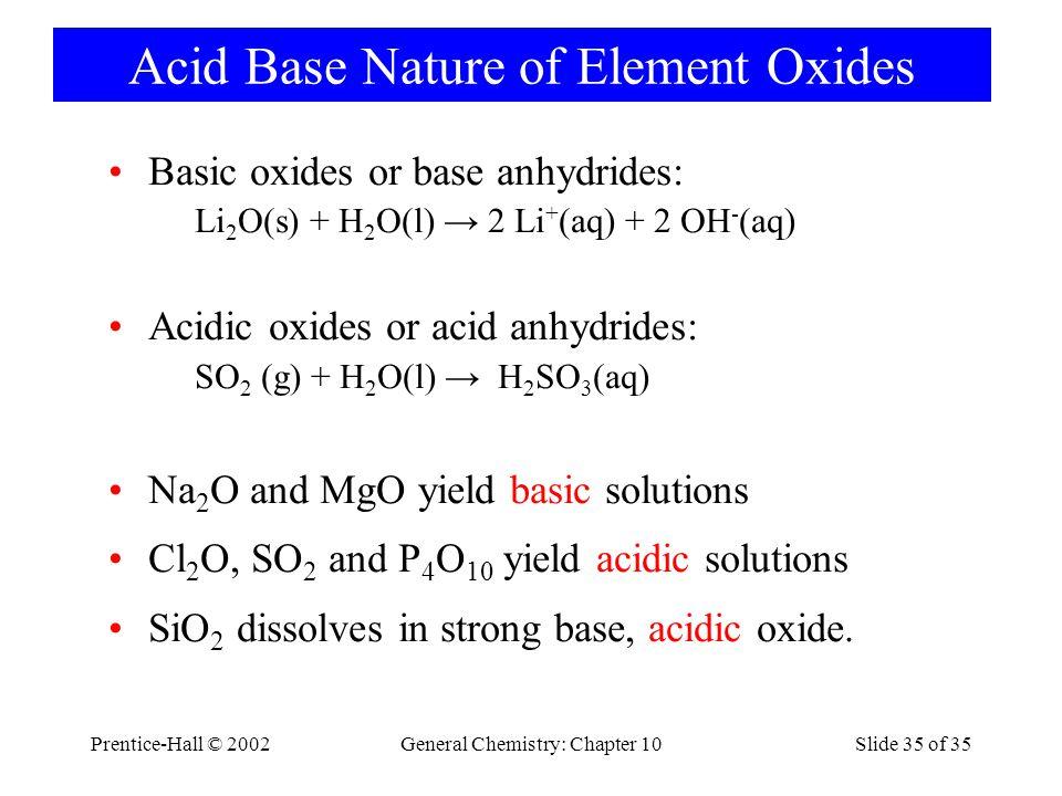 Acid Base Nature of Element Oxides