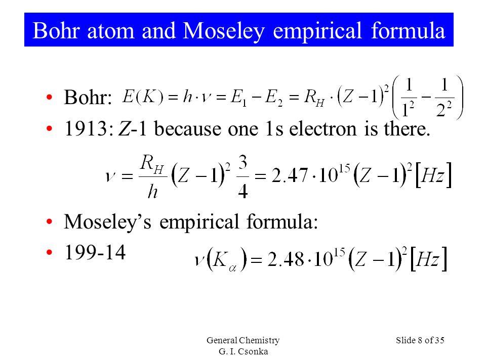 Bohr atom and Moseley empirical formula