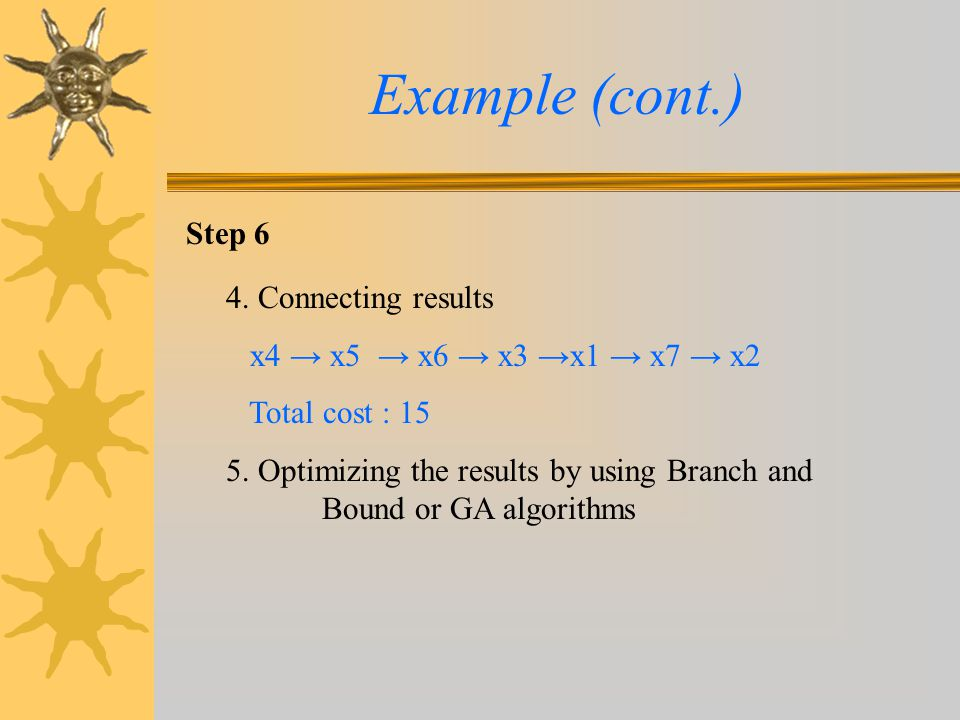 Example (cont.) Step 6 4. Connecting results