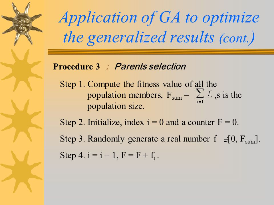 Application of GA to optimize the generalized results (cont.)