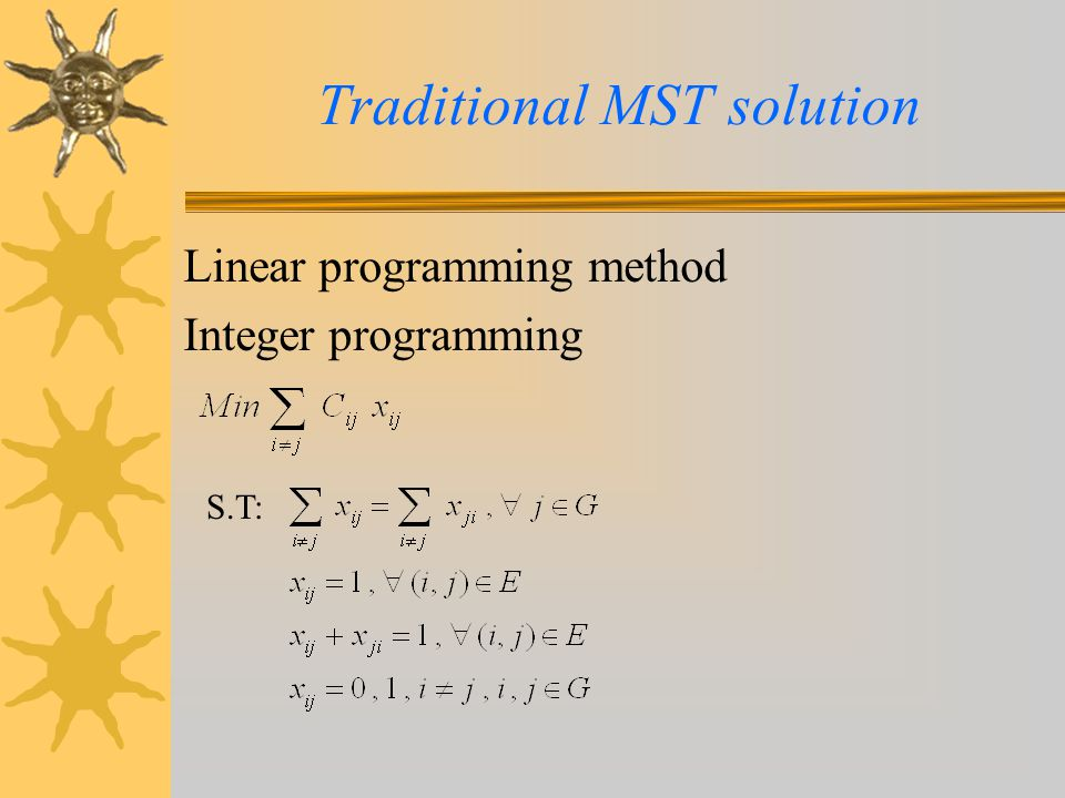 Traditional MST solution