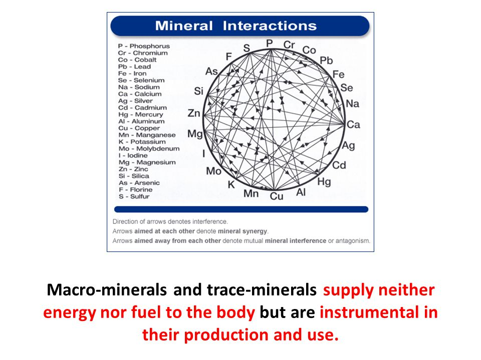 Macro-minerals and trace-minerals supply neither energy nor fuel to the body but are instrumental in their production and use.