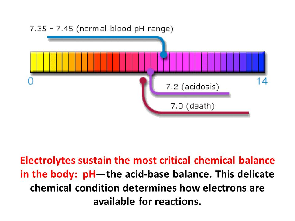 Electrolytes sustain the most critical chemical balance in the body: pH—the acid-base balance. This delicate chemical condition determines how electrons are available for reactions.