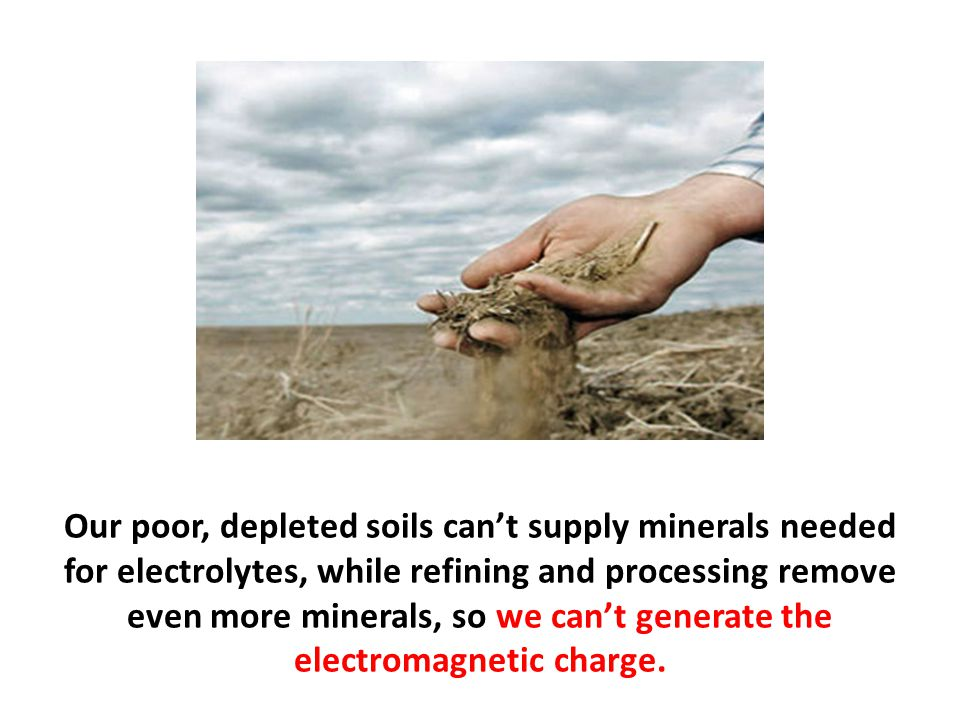 Our poor, depleted soils can't supply minerals needed for electrolytes, while refining and processing remove even more minerals, so we can't generate the electromagnetic charge.