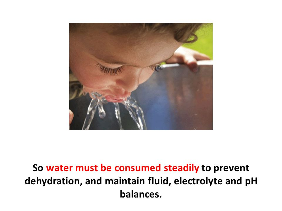 So water must be consumed steadily to prevent dehydration, and maintain fluid, electrolyte and pH balances.