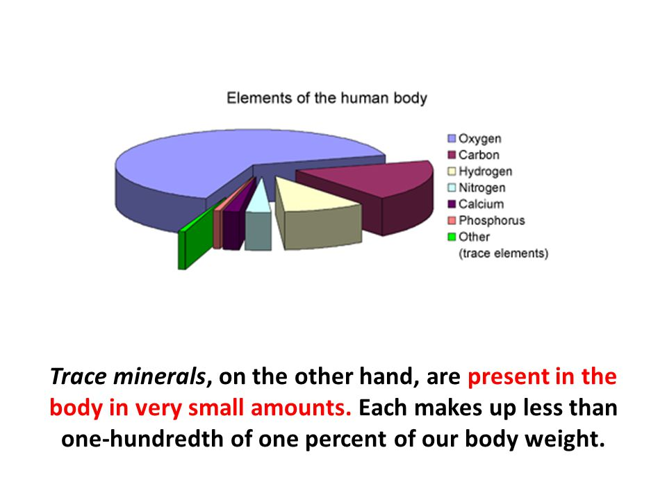Trace minerals, on the other hand, are present in the body in very small amounts. Each makes up less than one-hundredth of one percent of our body weight.