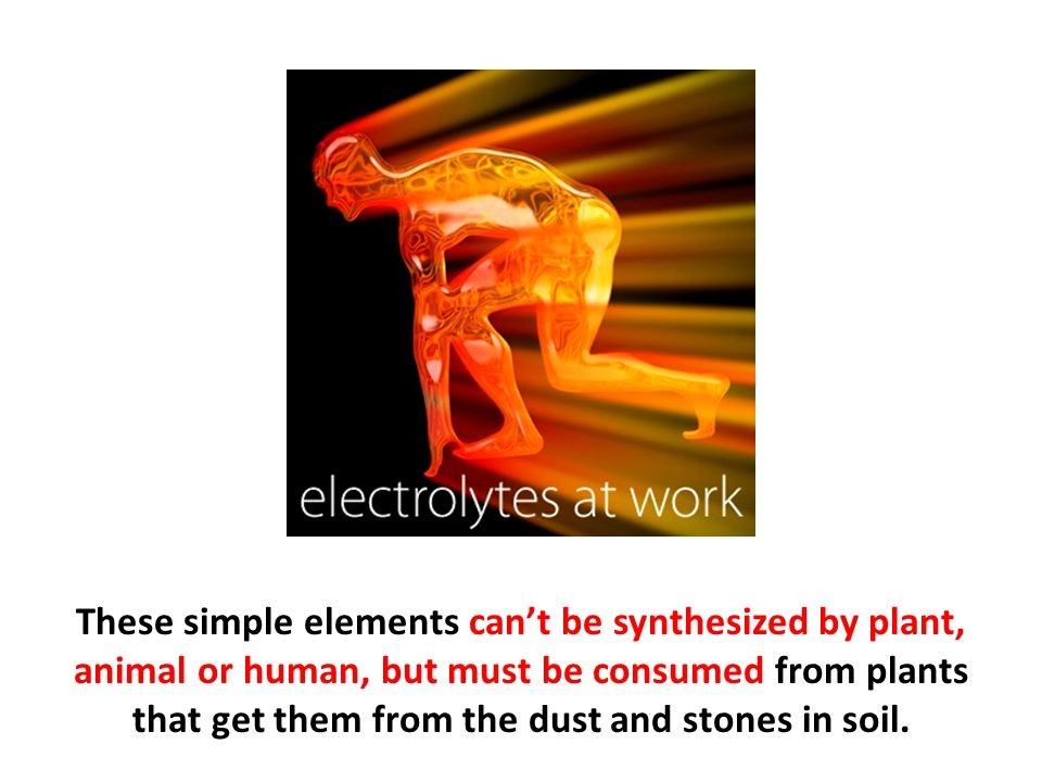 These simple elements can't be synthesized by plant, animal or human, but must be consumed from plants that get them from the dust and stones in soil.