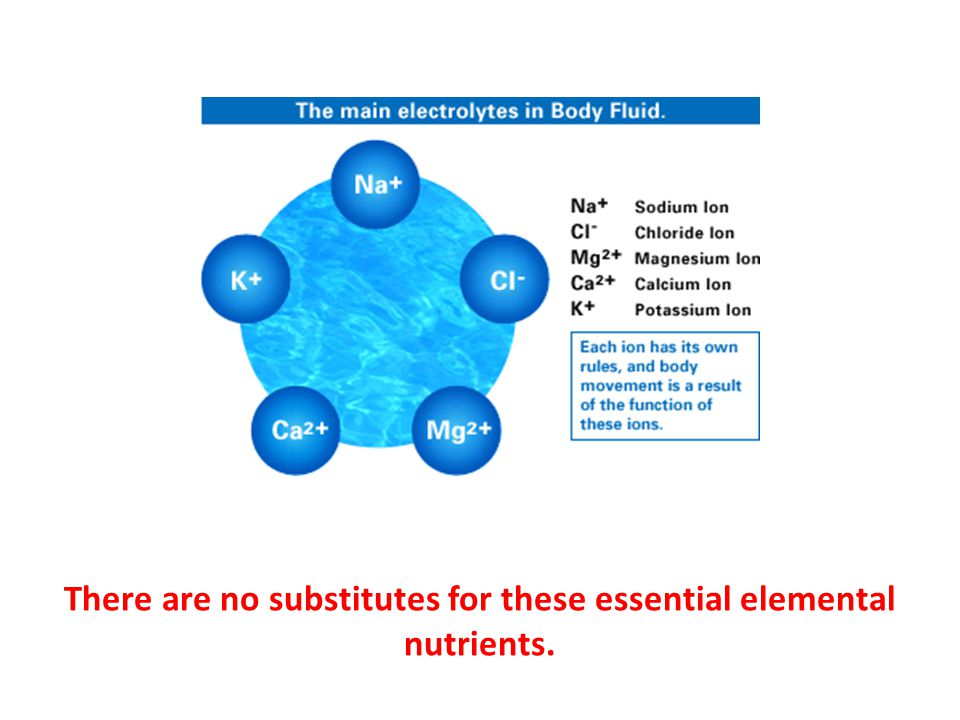 There are no substitutes for these essential elemental nutrients.