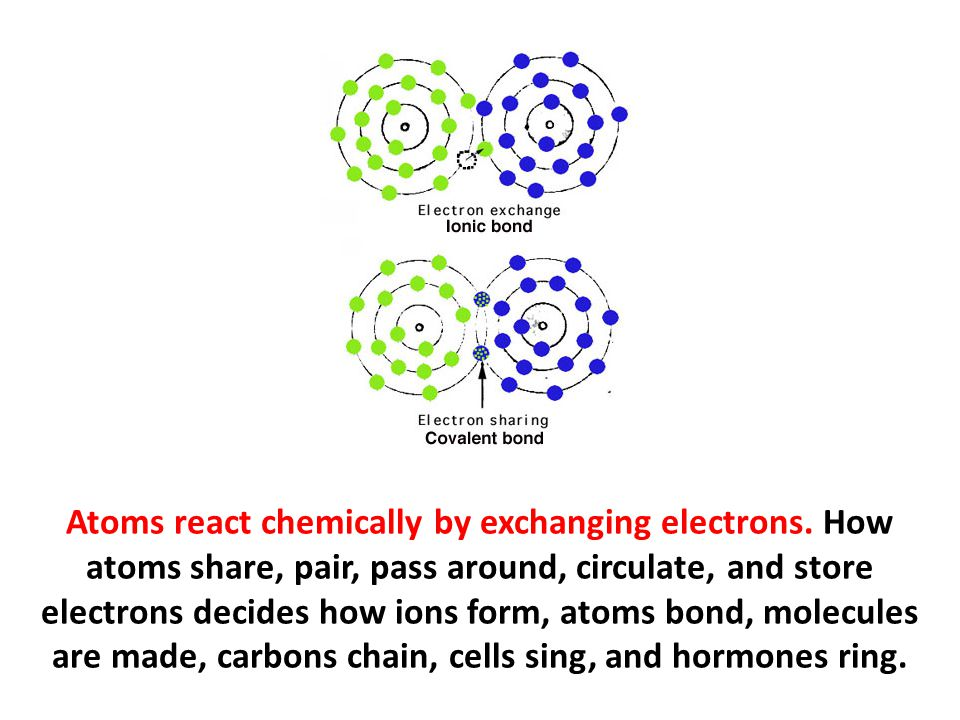 Atoms react chemically by exchanging electrons