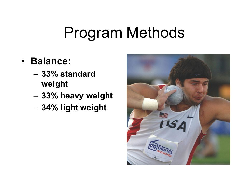 Program Methods Balance: 33% standard weight 33% heavy weight