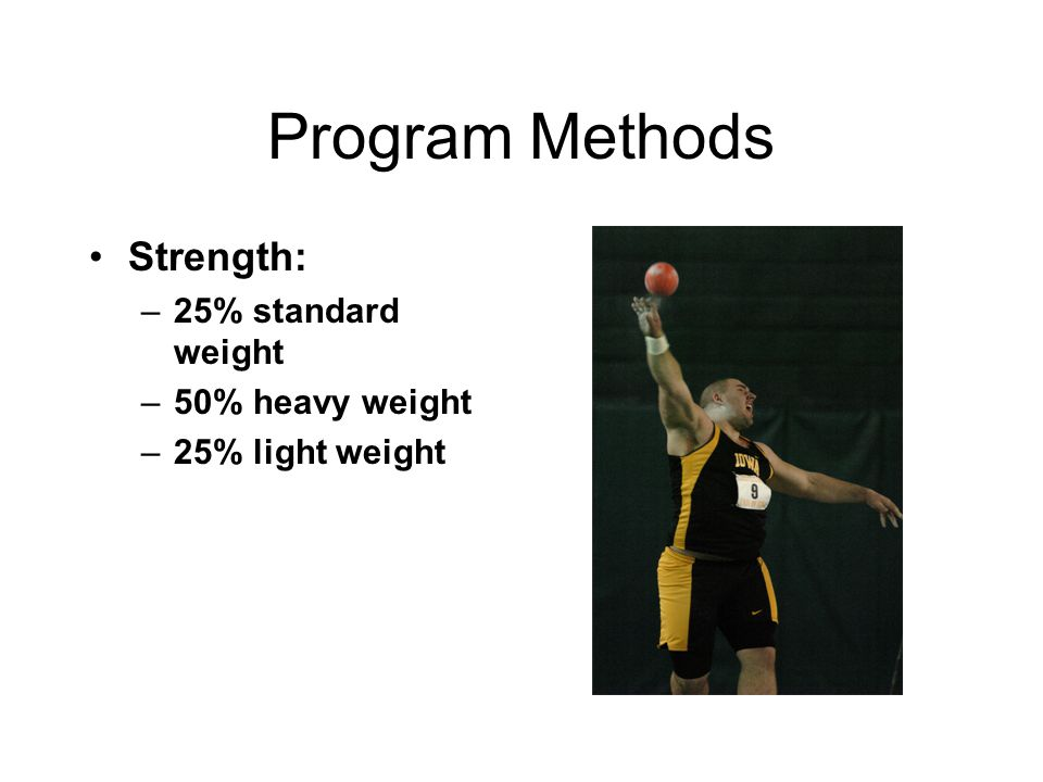 Program Methods Strength: 25% standard weight 50% heavy weight