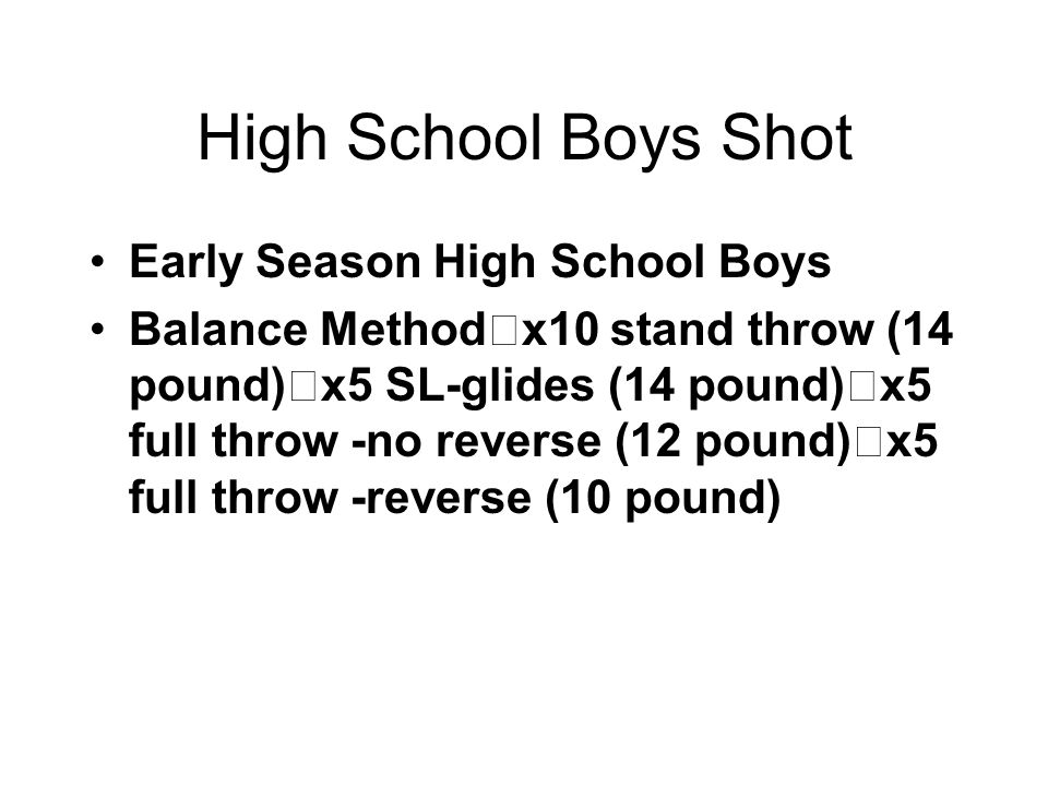 High School Boys Shot Early Season High School Boys