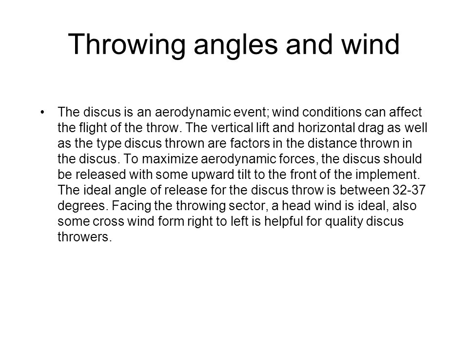 Throwing angles and wind