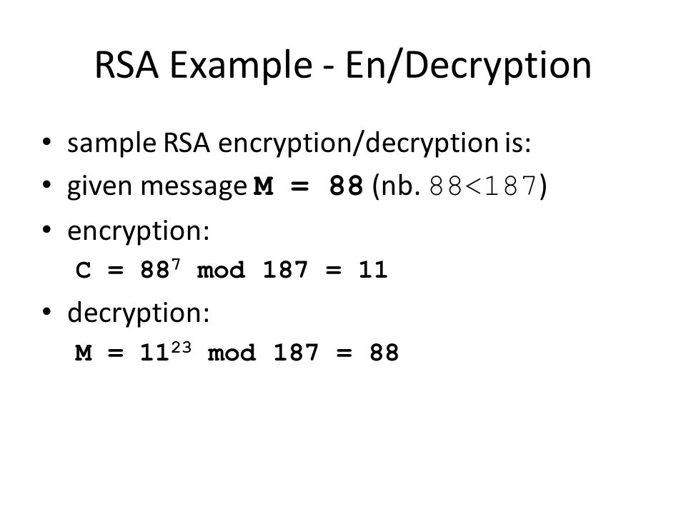 RSA Example - En/Decryption