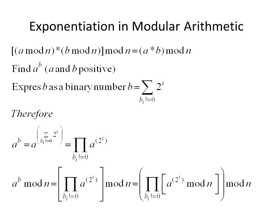 Exponentiation in Modular Arithmetic