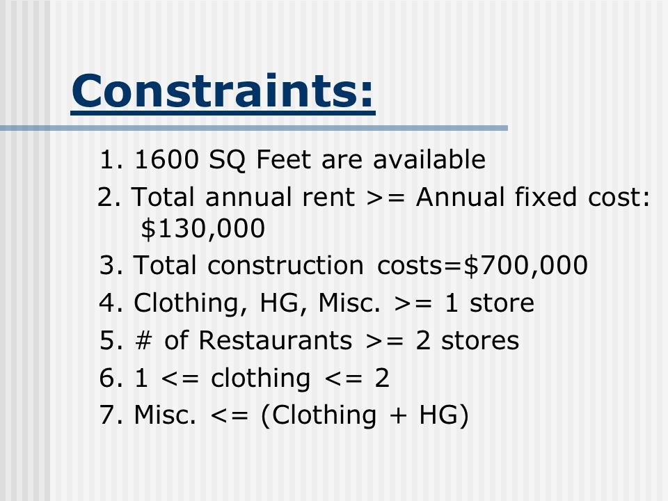 Constraints: 1. 1600 SQ Feet are available