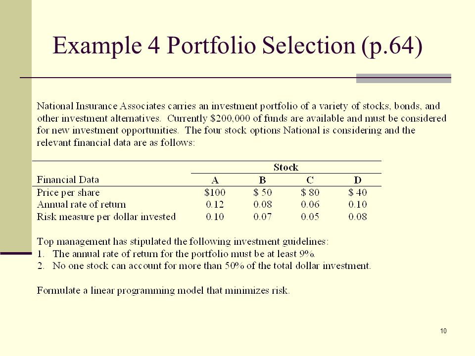 Example 4 Portfolio Selection (p.64)