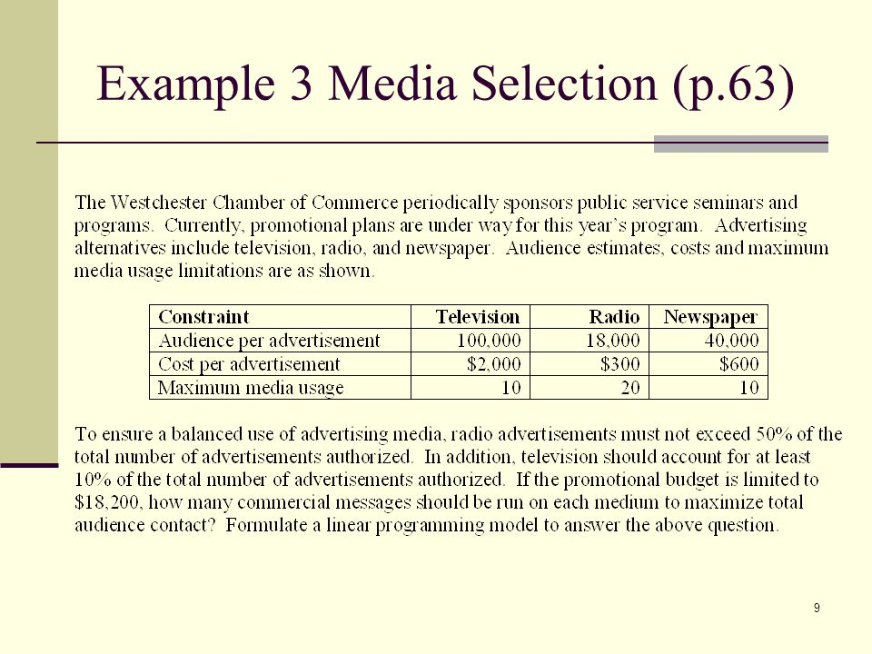 Example 3 Media Selection (p.63)