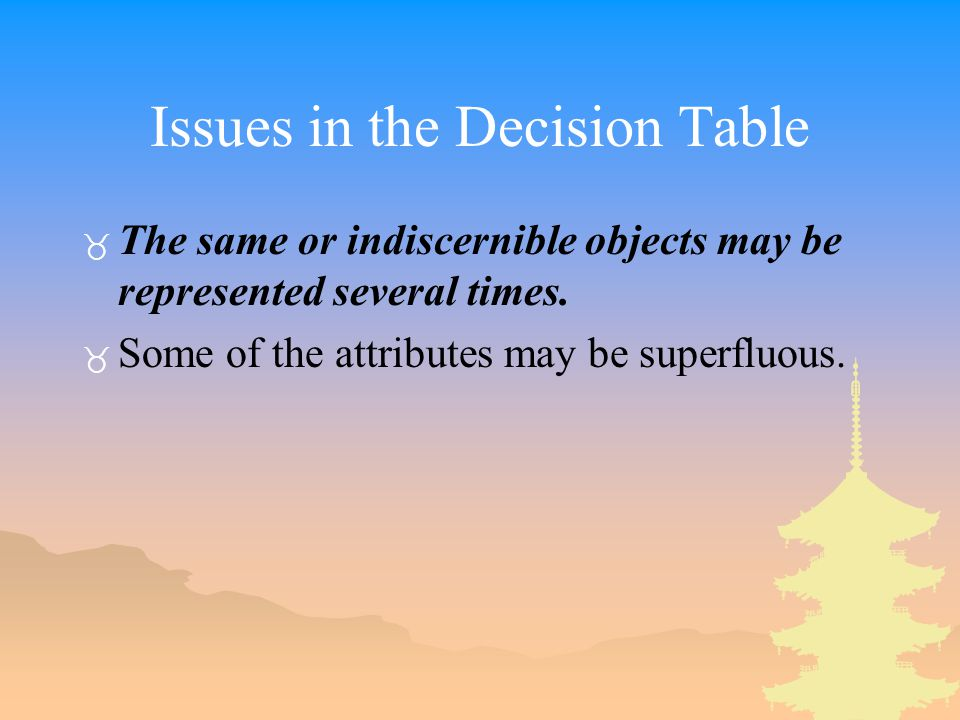 Issues in the Decision Table